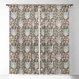 White Tiger Pattern / Black Background Sheer Curtain