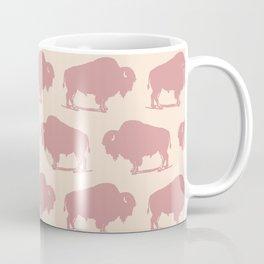 Buffalo Bison Pattern Dusty Rose Coffee Mug