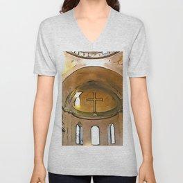 Golden Cross Of The Hagia Eirene Constantinople Black Outline Art Unisex V-Neck