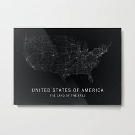 The United States of America Road Map Metal Print