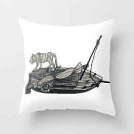 Tiger Boat Lost at Sea Throw Pillow