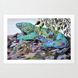 New Caledonia Lizard Art Deco Style Art Print