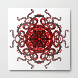 Red Abstract Mandala Star Metal Print