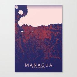Managua, Nicaragua, Blue, White, City, Map Canvas Print