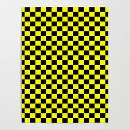 Yellow Black Checker Boxes Design Poster