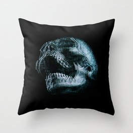 Analogue Glitch Skull Throw Pillow