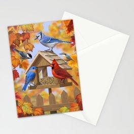 Autumn Bird Feeder Gathering Stationery Cards