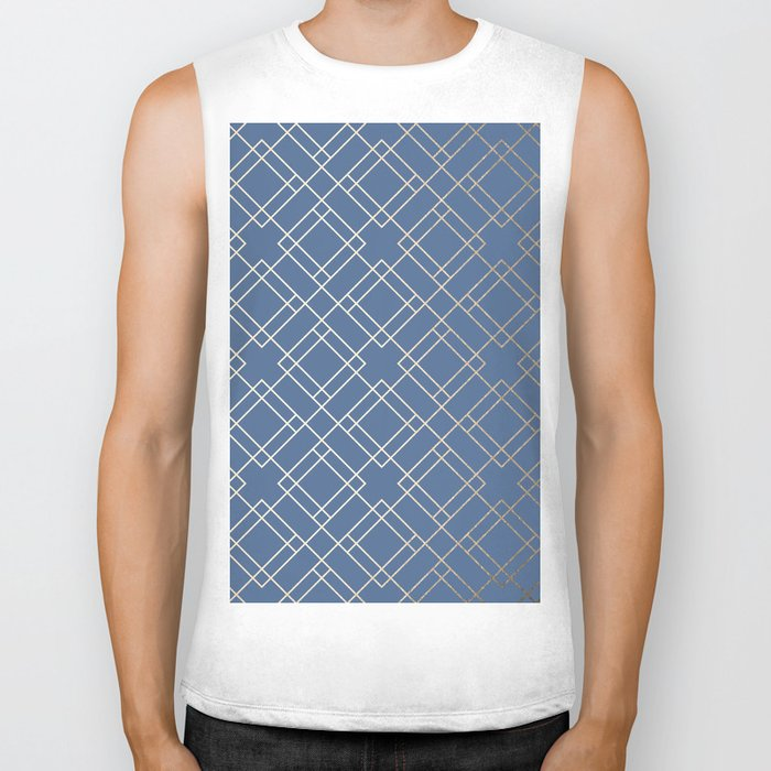 Simply Mid-Century in White Gold Sands on Aegean Blue Biker Tank
