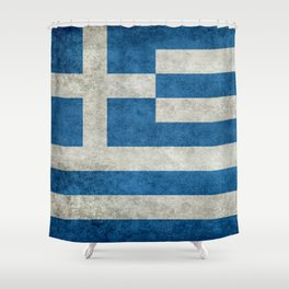 Flag of Greece, vintage retro style Shower Curtain