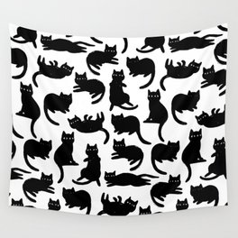 Black Cat Poses Wall Tapestry