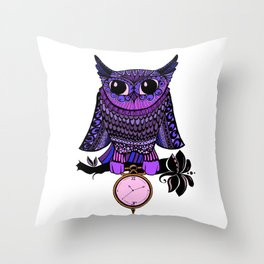 Time Owled (coloured) Throw Pillow