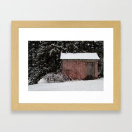 The Shed in Snowfall Framed Art Print
