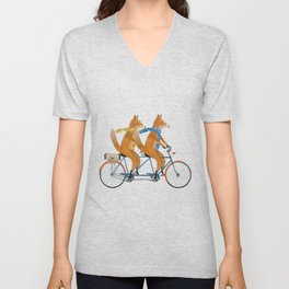 foxes lets tandem Unisex V-Neck