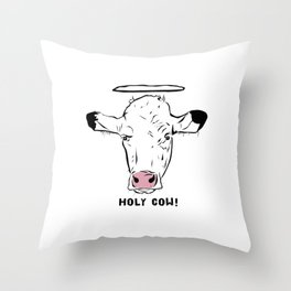 Holy Cow With Halo Throw Pillow