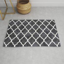 Classic Quatrefoil Lattice Pattern 421 Black and White Rug