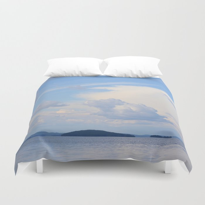 Blue Lakescape With White Clouds In The Blue Sky #decor #society6 Duvet Cover