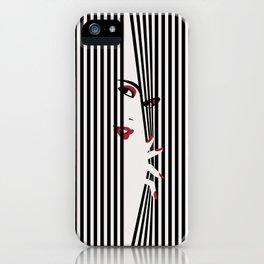 Peeking Woman (White) iPhone Case