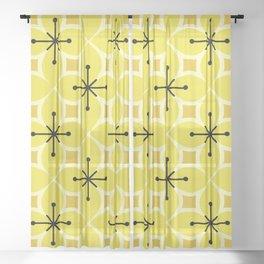 Retro MCM Flower Petals Yellow Sheer Curtain