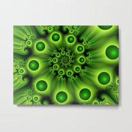 Green Fractal, Modern Spiral With Depth Metal Print