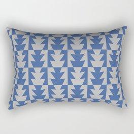 Art Deco Jagged Edge Pattern Blue and Gray Rectangular Pillow