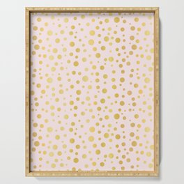 Luxe Rose Gold Polka Dots Pattern Seamless Vector, Drawn Metallic Serving Tray