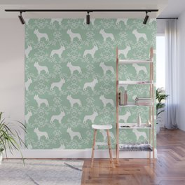 French Bulldog floral minimal mint and white pet silhouette frenchie pattern Wall Mural