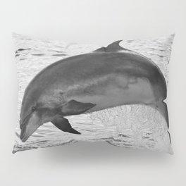 Jumping wild bottlenose dolphin black and white Pillow Sham