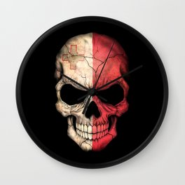 Dark Skull with Flag of Malta Wall Clock