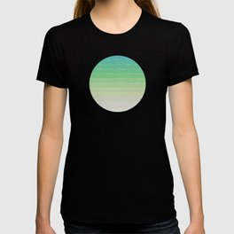 Shades of Ocean Water - Abstract Geometric Line Gradient Pattern between See Green and White T-shirt