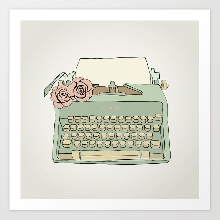 Retro Typewriter Art Print By Kotikmurkotik