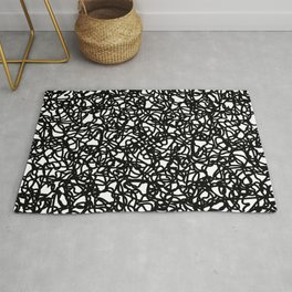 Chaotic white tangled and black lines. Rug