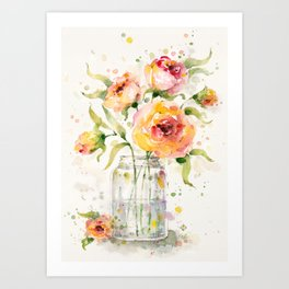 A Jar Of Joy (flowers) Art Print