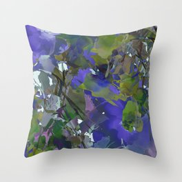 Violet Water Blossoms Throw Pillow