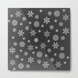 Snow Flurries-Solid Charcoal Metal Print