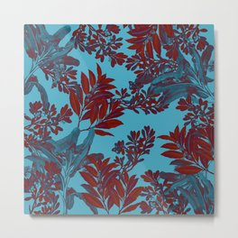 Blue Forest and Red Leaves Metal Print