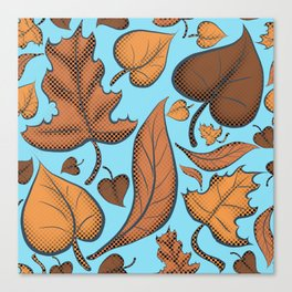 Fall Brown Leaves And Sky Blue Canvas Print