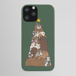 Christmas Tree English Bulldog iPhone Case