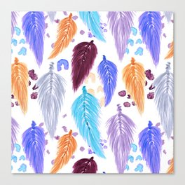 Watercolor Macrame Feathers + Dots in Lilac Rainbow Canvas Print