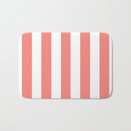 Tea rose pink - solid color - white vertical lines pattern Bath Mat