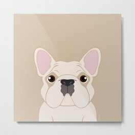 Frenchie - Cream Metal Print