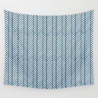 herringbone Wall Tapestries featuring Herringbone Navy by Project M