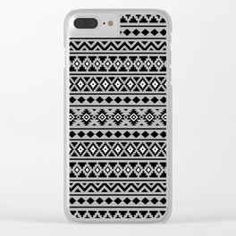 Aztec Essence Pattern II Black White Grey Clear iPhone Case