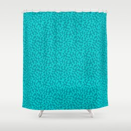 Abstract retro summer teal groovy pattern Shower Curtain