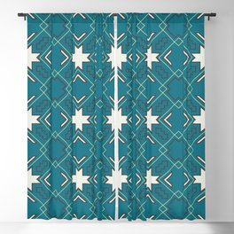 Ethnic pattern in blue Blackout Curtain