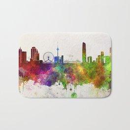 Tianjin skyline in watercolor background Bath Mat