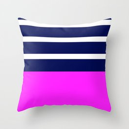 Summer Patio Perfect, Pink, White, Navy Throw Pillow