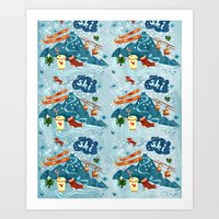 ski Art Prints featuring Ski Pattern by Christiane Engel
