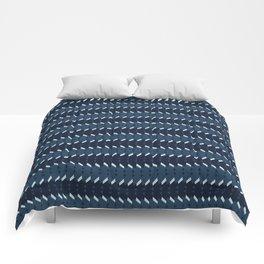 Abstract Stripes Pattern Indigo Blue Grunge Comforters