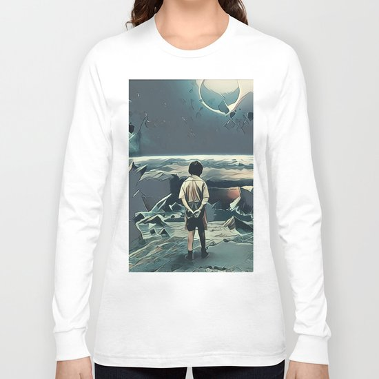 Lonely boy in cosmos Long Sleeve T-shirt
