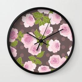 Pink roses choko polka dots pattern Wall Clock